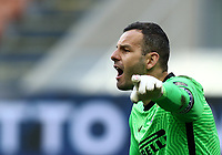 Calcio, Serie A: Inter Milano - Genoa , Giuseppe Meazza (San Siro) stadium, in Milan, February 28, 2021.  <br /> Inter's goalkeeper and captain Samir Handanovic reacts during the Italian Serie A football match between Inter and Genoa at Giuseppe Meazza (San Siro) stadium, on February 28, 2021.  <br /> UPDATE IMAGES PRESS/Isabella Bonotto