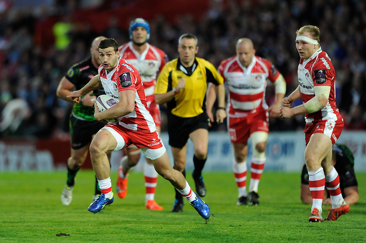 Jonny May of Gloucester Rugby in action during the European Rugby Challenge Cup semi final match between Gloucester Rugby and Exeter Chiefs at Kingsholm Stadium on Saturday 18th April 2015 (Photo by Rob Munro)