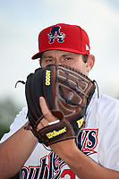 Auburn Doubledays pitcher Tyler Dyson (24) poses for a photo before a NY-Penn League game against the Connecticut Tigers on July 12, 2019 at Falcon Park in Auburn, New York.  Auburn defeated Connecticut 7-5.  (Mike Janes/Four Seam Images)