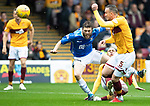 Motherwell v St Johnstone…20.10.18…   Fir Park    SPFL<br />Murray Davidson is tackled by Charles Dunne<br />Picture by Graeme Hart. <br />Copyright Perthshire Picture Agency<br />Tel: 01738 623350  Mobile: 07990 594431
