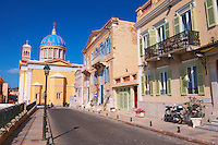 The Neo Classic buildings & Greek OrthodoxChurchof  Saint Nicholas,  Ermoupolis, Syros, Greek Cyclades Islands
