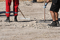 """Pictured: Special forensics police officers search a field in Kos, Greece. Tuesday 27 September 2016<br /> Re: Police teams searching for missing toddler Ben Needham on the Greek island of Kos have said they are """"optimistic"""" about new excavation work.<br /> Ben, from Sheffield, was 21 months old when he disappeared on 24 July 1991 during a family holiday.<br /> Digging has begun at a new site after a fresh line of inquiry suggested he could have been crushed by a digger.<br /> South Yorkshire Police (SYP) said it continued to keep an """"open mind"""" about what happened to Ben."""