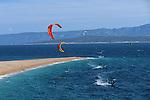 Kyte surfing.Brac Island. Bol. Beach of Zlatni Rat (gold Cape).Cruise in Croatia. Island of Dalmatia