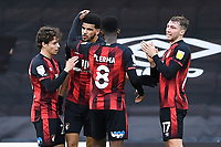 Dominic Solanke of AFC Bournemouth is congratulated on scoring the fourth goal during AFC Bournemouth vs Reading, Sky Bet EFL Championship Football at the Vitality Stadium on 21st November 2020