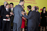 Spain's crown Prince Felipe and Princess Letizia talk to actor Antonio Banderas, formula one driver Fernando Alonso and Banco Santander chairman Emilio Botin ambassador of the Brand Spain after a ceremony. February 12, 2013. (ALTERPHOTOS/Alvaro Hernandez)