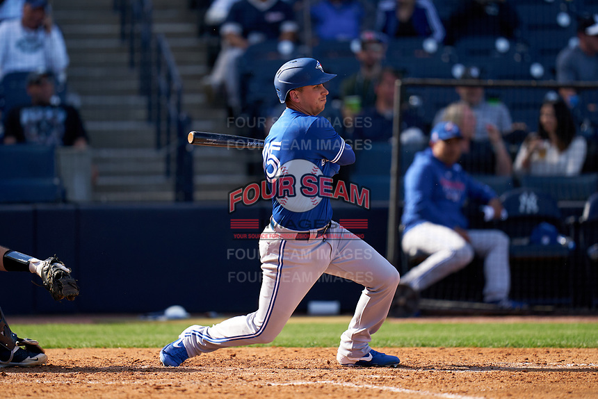 Toronto Blue Jays Andy Burns (75) bats during a Spring Training game against the New York Yankees on February 22, 2020 at the George M. Steinbrenner Field in Tampa, Florida.  (Mike Janes/Four Seam Images)