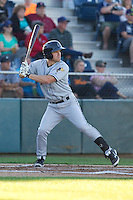Shane Hoelscher #8 of the Tri-City Dust Devils at bat during a game against the Everett AquaSox at Everett Memorial Stadium in Everett, Washington on July 28, 2014. Tri-City defeated Everett 6-5 in 11 innings.  (Ronnie Allen/Four Seam Images)
