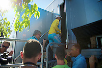 Vincenzo Nibali (ITA/Astana) needs at least an hour a day to go through (yellow jersey) protocol<br /> <br /> 2014 Tour de France<br /> stage 12: Bourg-en-Bresse - Saint-Etiènne (185km)