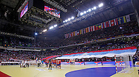 General overview of Belgrade Arena during men`s EHF EURO 2012 championship semifinal handball game between Serbia and Croatia in Belgrade, Serbia, Friday, January 27, 2011.  (photo: Pedja Milosavljevic / thepedja@gmail.com / +381641260959) arena tota,l serbian flag, zastava