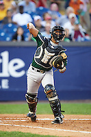 Lynchburg Hillcats catcher Juan De La Cruz (1) throws to first base during a game against the Wilmington Blue Rocks on June 3, 2016 at Judy Johnson Field at Daniel S. Frawley Stadium in Wilmington, Delaware.  Lynchburg defeated Wilmington 16-11 in ten innings.  (Mike Janes/Four Seam Images)
