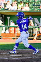 Samuel Ortiz (14) of the Ogden Raptors at bat against the Missoula Osprey in Pioneer League action at Lindquist Field on July 14, 2016 in Ogden, Utah. Ogden defeated Missoula 10-4. (Stephen Smith/Four Seam Images)