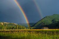 Rainbow over Rock Creek Valley<br /> Rock Creek<br /> Granite County<br /> Rocky Mountains,  Montana