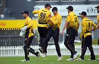 The Firebirds celebrate winning the Ford Trophy men's cricket match between Wellington Firebirds and Northern Districts at the Basin Reserve in Wellington, New Zealand on Sunday, 21 February 2021. Photo: Dave Lintott / lintottphoto.co.nz