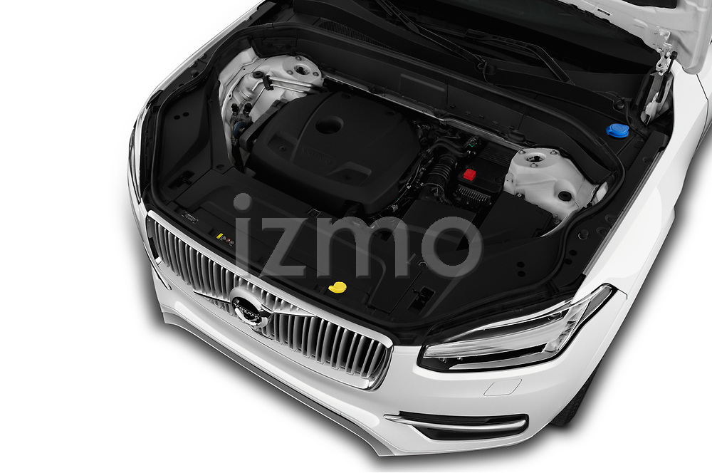 Car stock 2018 Volvo XC90 4WD Inscription 5 Door SUV engine high angle detail view