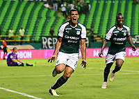 PALMIRA - COLOMBIA, 27-10-2018: Jose Sand (Izq) jugador del Deportivo Cali celebra después de anotar el cuarto gol de su equipo a Jaguares de Córdoba durante partido por la fecha 17 de la Liga Águila II 2017 jugado en el estadio Palmaseca de la ciudad de Palmira. / Jose Sand (R) player of Deportivo Cali celebrates after scoring the fourth goal of his team to Jaguares de Cordoba during match for the date 17 of the Aguila League II 2017 played at Palmaseca stadium in Palmira city.  Photo: VizzorImage/ Nelson Rios / Cont