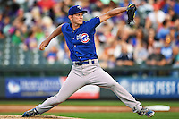 Iowa Cubs starting pitcher Drew Rucinski (17) delivers a pitch at the bottom of first during a baseball game, Friday, Apr. 15, 2016, in Round Rock, Tex. (TFV Media via AP images)