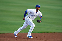 Dunedin Blue Jays shortstop Richard Urena (5) during a game against the Palm Beach Cardinals on April 15, 2016 at Florida Auto Exchange Stadium in Dunedin, Florida.  Dunedin defeated Palm Beach 8-7.  (Mike Janes/Four Seam Images)