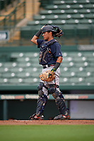 GCL Braves catcher Wiston Cerrato (13) during a Gulf Coast League game against the GCL Orioles on August 5, 2019 at Ed Smith Stadium in Sarasota, Florida.  GCL Orioles defeated the GCL Braves 4-3 in the first game of a doubleheader.  (Mike Janes/Four Seam Images)