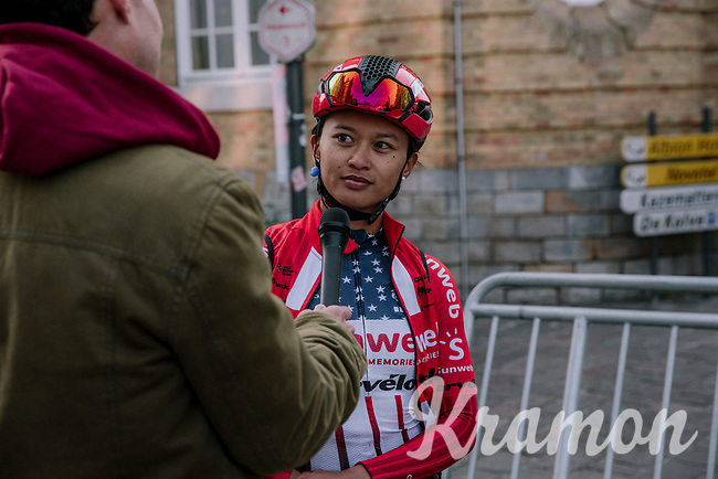 Coryn Rivera (USA/Sunweb) interviewed pre race,<br /> <br /> 8th Gent-Wevelgem In Flanders Fields 2019 <br /> Elite Womens Race (1.WWT)<br /> <br /> One day race from Ypres (Ieper) to Wevelgem (137km)<br /> ©JojoHarper for Kramon