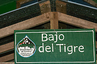 Sign at entrance to Bajo del Tigre, part of Bosque Eterno de los Niños (Children's Eternal Rainforest), Monteverde, Costa Rica