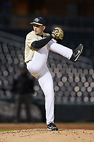 Wake Forest Demon Deacons relief pitcher Bobby Hearn (34) in action against the Charlotte 49ers at BB&T BallPark on March 13, 2018 in Charlotte, North Carolina.  The 49ers defeated the Demon Deacons 13-1.  (Brian Westerholt/Four Seam Images)