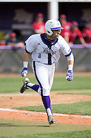 Tim Mansfield (3) of the High Point Panthers hustles down the first base line against the NJIT Highlanders during game one of a double-header at Williard Stadium on February 18, 2017 in High Point, North Carolina.  The Panthers defeated the Highlanders 11-0.  (Brian Westerholt/Four Seam Images)