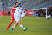 CARSON, CA - FEBRUARY 07: Shelina Zadorsky #4 of Costa Rica passes off the ball during a game between Canada and Costa Rica at Dignity Health Sports Park on February 07, 2020 in Carson, California.