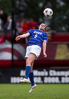 Kelly Cobb (9) of Duke heads the ball at Ludwig Field on the campus of the University of Maryland in College Park, MD. DC. Duke defeated Maryland, 2-1.