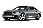 Stock pictures of low aggressive front three quarter view of a 2019 Volvo S90 T6 Inscription 4 Door Sedan