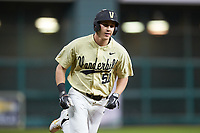 JJ Bleday (51) of the Vanderbilt Commodores rounds third base against the Houston Cougars during game nine of the 2018 Shriners Hospitals for Children College Classic at Minute Maid Park on March 3, 2018 in Houston, Texas. The Commodores defeated the Cougars 9-4. (Brian Westerholt/Four Seam Images)