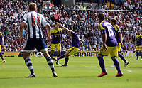 Pictured: Jonjo Shelvey of Swansea (C) takes a free kick off target. Sunday 01 September 2013<br /> Re: Barclay's Premier League, West Bromwich Albion v Swansea City FC at The Hawthorns, Birmingham, UK.