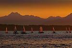 Sailboats off Golden Gardens Park, Seattle, Washington, USA<br /> <br /> Canon EOS-1DS, Focal length 190, f/8 for 1/80 second, ISO 100