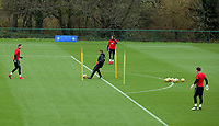 Goalkeeping coach Tony Roberts (C) trains his players during the Wales Training Session at The Vale Resort, Wales, UK. 06 November 2017