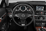 Steering wheel view of a 2011 Mercedes E 550 Convertible
