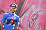 Maglia Azzurra Filippo Ganna (ITA) Ineos Grenadiers at sign on before the start of Stage 7 of the 103rd edition of the Giro d'Italia 2020 running 143km from Matera to Brindisi, Sicily, Italy. 9th October 2020.  <br /> Picture: LaPresse/Fabio Ferrari | Cyclefile<br /> <br /> All photos usage must carry mandatory copyright credit (© Cyclefile | LaPresse/Fabio Ferrari)