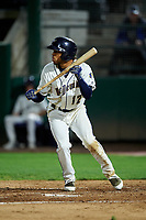 Tri-City Dust Devils Reinaldo Ilarraza (12) at bat during a Northwest League game against the Vancouver Canadians at Gesa Stadium on August 21, 2019 in Pasco, Washington. Vancouver defeated Tri-City 1-0. (Zachary Lucy/Four Seam Images)