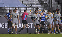 8th January 2021; Recreation Ground, Bath, Somerset, England; English Premiership Rugby, Bath versus Wasps; Referee Matthew Carley shows Charlie Ewels of Bath a yellow card