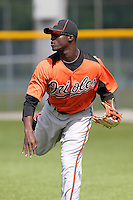 Baltimore Orioles Jalen Simmons #72 during practice before a spring training game against the Tampa Bay Rays at the Buck O'Neil Complex on March 21, 2012 in Sarasota, Florida.  (Mike Janes/Four Seam Images)