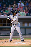 Michael Martinez (7) of the Columbus Clippers at bat against the Charlotte Knights at BB&T BallPark on May 27, 2015 in Charlotte, North Carolina.  The Clippers defeated the Knights 9-3.  (Brian Westerholt/Four Seam Images)