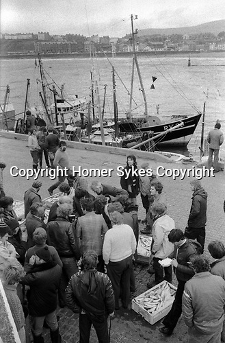 Isle of Man, Douglas, 1970s. Fishing industry, fisherman fishing boats have just unloaded in harbour dock, local people gather around to buy fresh fish. 1978