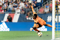 FOXBOROUGH, MA - SEPTEMBER 11: Sean Johnson #1 of New York City FC fails fo make a save during a game between New York City FC and New England Revolution at Gillette Stadium on September 11, 2021 in Foxborough, Massachusetts.
