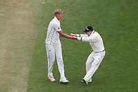 NZ captain Tom Latham (right) celebrates Kyle Jamieson's dismissal of John Campbell during day three of the second International Test Cricket match between the New Zealand Black Caps and West Indies at the Basin Reserve in Wellington, New Zealand on Sunday, 13 December 2020. Photo: Dave Lintott / lintottphoto.co.nz