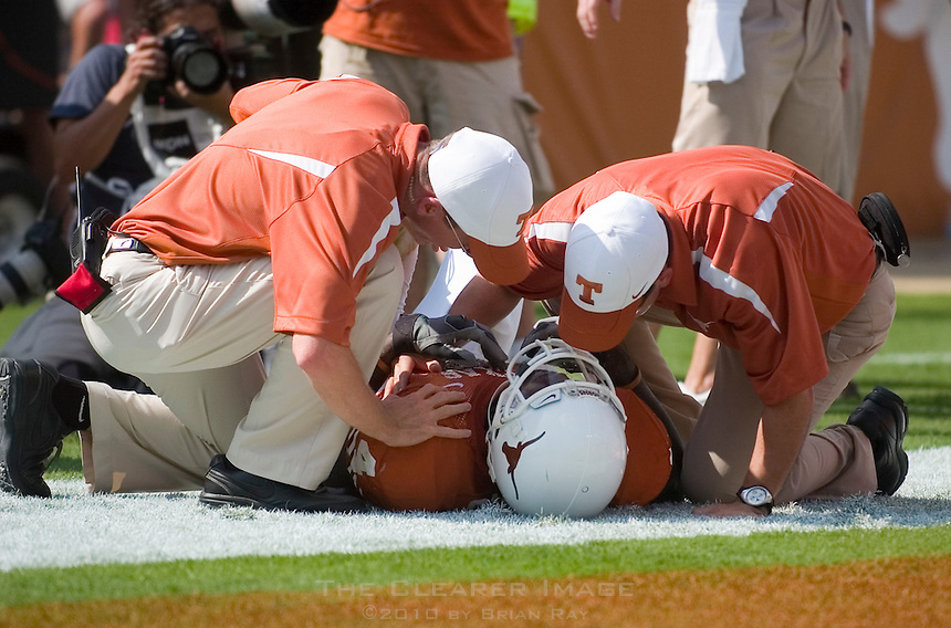 23 September 2006: Texas athletic trainers tend to receiver Limas Sweed after he was shaken up on a touchdown reception during the Longhorns 37-14 victory over the Iowa State Cyclones at Darrell K Royal Memorial Stadium in Austin, TX.