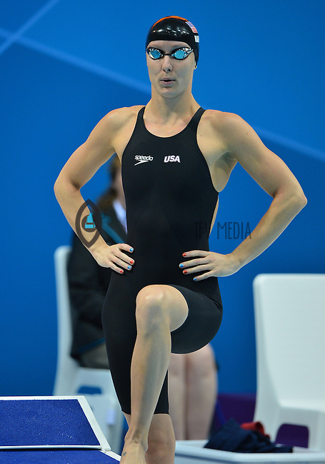 August 04, 2012..Jessica Hardy prepares to compete in Women's 50m Freestyle Final at the Aquatics Center on day eight of 2012 Olympic Games in London, United Kingdom.