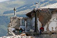 A collapsed building in the village of Amatrice, central Italy, hit by a magnitude 6 earthquake at 3,36 am, 24 August 2016.<br /> Una casa distrutta dal terremoto che alle 3,36 del mattino ha colpito Amatrice, 24 agosto 2016.<br /> UPDATE IMAGES PRESS/Riccardo De Luca