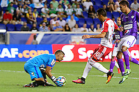 Harrison, NJ - Wednesday Aug. 03, 2016: Cristian Alvarez, Gonzalo Veron, Sixto Betancourt during a CONCACAF Champions League match between the New York Red Bulls and Antigua at Red Bull Arena.