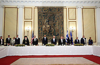 Pictured: Greek Prime Minister Alexis Tsipras, US President Barack Obama and Greek President Prokopis Pavlopoulos with other state officials. Tuesday 15 November 2016<br /> Re: US President Barack Obama attends official stat banquet at the Presidential Mansion during his visit to Athens Greece
