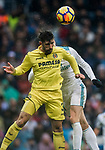 Alvaro Gonzalez Soberon of Villarreal CF competes for the ball with Gareth Bale of Real Madrid during the La Liga 2017-18 match between Real Madrid and Villarreal CF at Santiago Bernabeu Stadium on January 13 2018 in Madrid, Spain. Photo by Diego Gonzalez / Power Sport Images