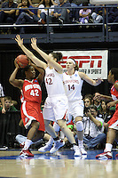 BERKELEY, CA - MARCH 30: Sarah Boothe closes the door on defense during Stanford's 84-66 win against the Ohio State Buckeyes on March 28, 2009 at Haas Pavilion in Berkeley, California.