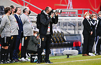 Belgian media officer Jonathan Vanooteghem pictured during a friendly female soccer game between the national teams of Germany and  Belgium , called the Red Flames  in a pre - bid tournament called Three Nations One Goal with the national teams from Belgium , The Netherlands and Germany towards a bid for the hosting of the 2027 FIFA Women's World Cup , on Sunday 21 st of February 2021  in Aachen , Germany . PHOTO SPORTPIX.BE   SPP   STIJN AUDOOREN